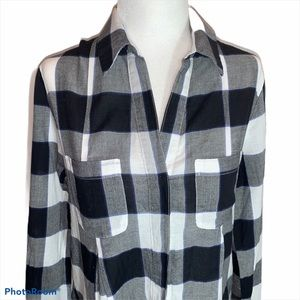 Lord & Taylor Black/White Check Button Up …